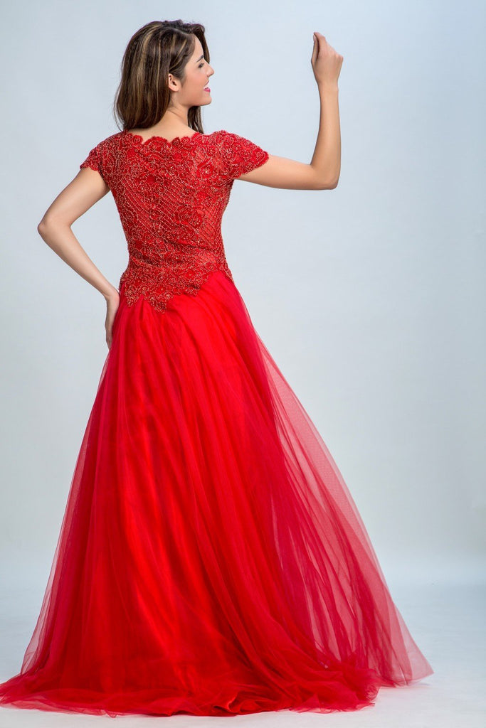 BohoProm prom dresses A-line Scoop-Neck Sweep Train Tulle Rhinestone Beaded Appliqued Red prom Dresses 2932