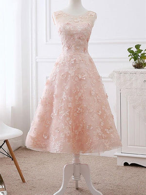 BohoProm prom dresses A-line Scoop Neck Tea Length Lace Pink Short Prom Dresses HX0038
