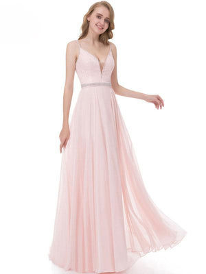BohoProm prom dresses A-line Spaghetti Strap Floor-Length Chiffon Beaded Pink Prom Dress 3115