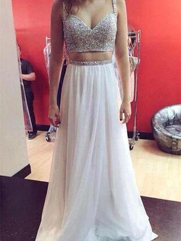 BohoProm prom dresses A-line Spaghetti Strap Floor-Length Chiffon Ivory Prom Dresses HX00138