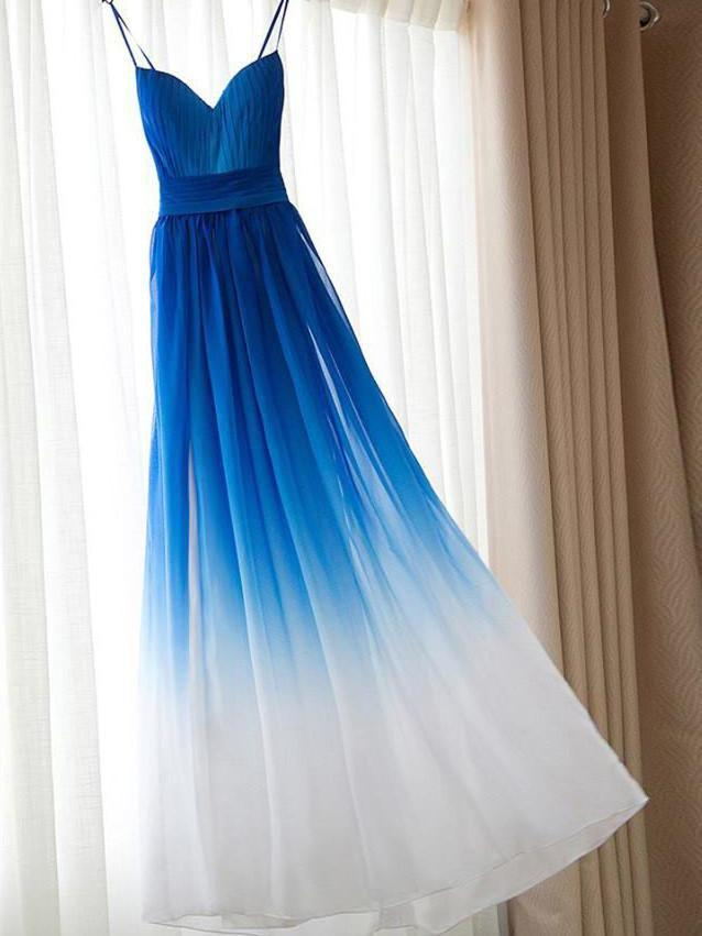 BohoProm prom dresses A-line Spaghetti Strap Floor-length Chiffon Ombre Prom Dresses HX00153