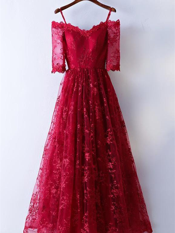 BohoProm prom dresses A-line Spaghetti Strap Floor-Length Lace Red Prom Dresses ASD26817