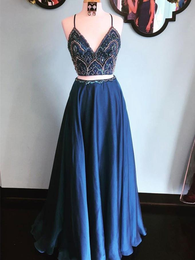 BohoProm prom dresses A-line Spaghetti Strap Floor-Length Satin Two Piece Prom Dresses HX0032