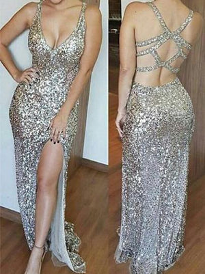 BohoProm prom dresses A-line Spaghetti Strap Floor-Length Sequin Shinny Prom Dresses HX0065