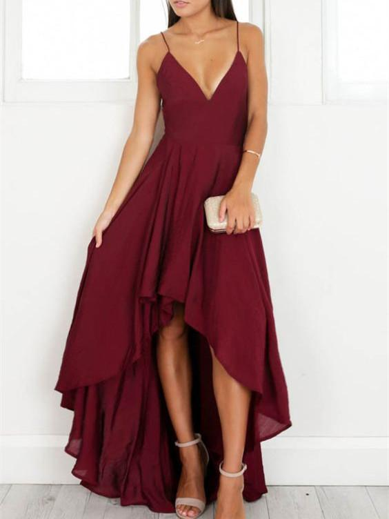 BohoProm prom dresses A-line Spaghetti Strap High-Low Chiffon Simple Burgundy Prom Dresses ASD26744