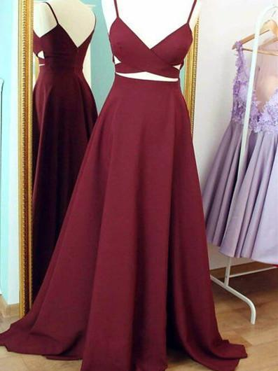 BohoProm prom dresses A-line Spaghetti Strap Sweep Train  Satin Simple  Prom Dresses ASD2502