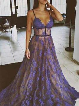BohoProm prom dresses A-line Spaghetti Strap Sweep Train Tulle Purple Prom Dresses HX00125