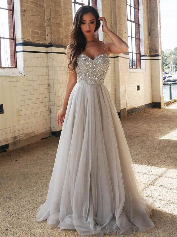BohoProm prom dresses A-line Spaghetti Strap Sweep Train Tulle Rhine Stone Beaded Prom Dresses 3029