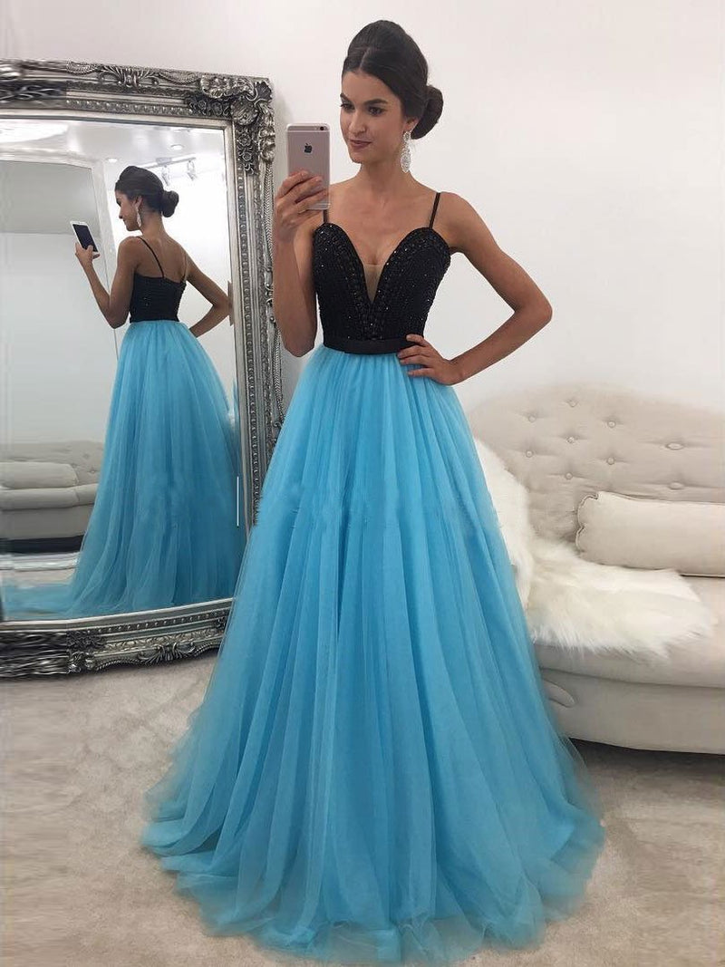 BohoProm prom dresses A-line Spaghetti Strap Sweep Train Tulle Rhine Stone Prom Dress 3073
