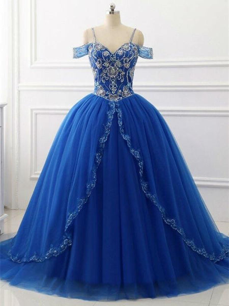BohoProm prom dresses A-line Spaghetti Strap Sweep Train Tulle Royal Blue Prom Dresses With Rhine Stones ASD27100