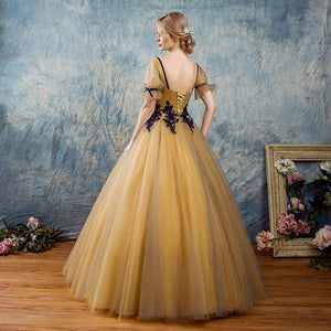 BohoProm prom dresses A-line Square Floor-Length Tulle Appliqued Golden Prom Dresses ASD26774