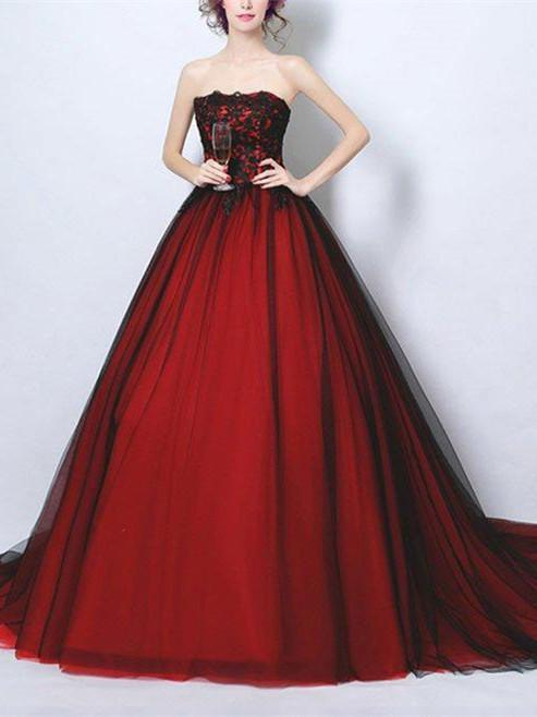 BohoProm prom dresses A-line Straight Across Chapel Train Tulle Appliqued Prom Dresses 3039
