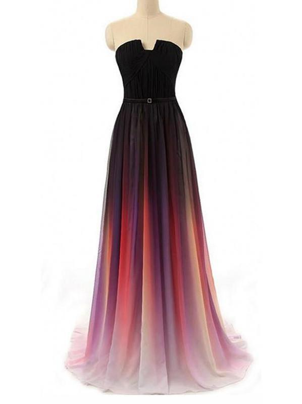 BohoProm prom dresses A-line Straight Across Floor-Length Chiffon Ombre Prom Dresses HX00128