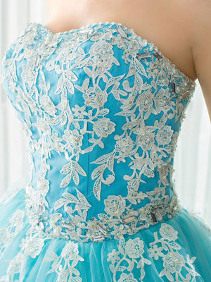 BohoProm prom dresses A-line Sweetheart Chapel Train Tulle Appliqued Beaded Rhinestone Prom Dresses 3014