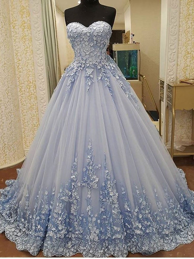 9f765604d BohoProm prom dresses A-line Sweetheart Chapel Train Tulle Appliqued Elegant  Prom Dresses 2787