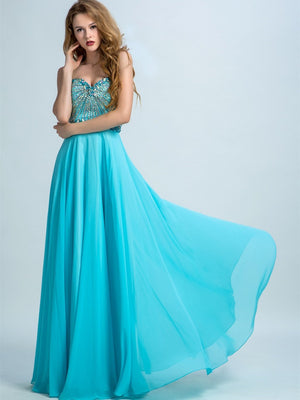 BohoProm prom dresses A-line Sweetheart  Floor-Length Chiffon Rhine Stone  Prom Dresses 2897