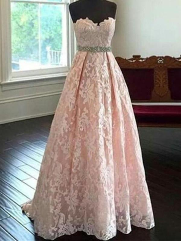 BohoProm prom dresses A-line Sweetheart Floor-Length Lace Pink Prom Dresses HX00137
