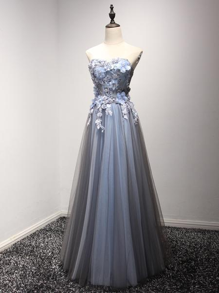 370e92878db1 A-line Sweetheart Floor-Length Tulle Appliqued Beaded Prom Dresses ASD –  BohoProm