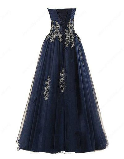BohoProm prom dresses A-line Sweetheart Floor-Length Tulle Appliqued Prom Dresses ASD2623