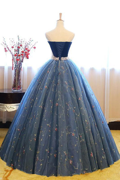 BohoProm prom dresses A-line Sweetheart Floor-Length Tulle Appliqued Prom Dresses With Pearls ASD26977