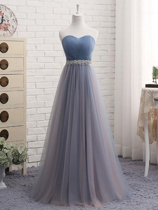BohoProm prom dresses A-line  Sweetheart Floor-Length Tulle Bow Lace up Beaded Prom Dresses 2839