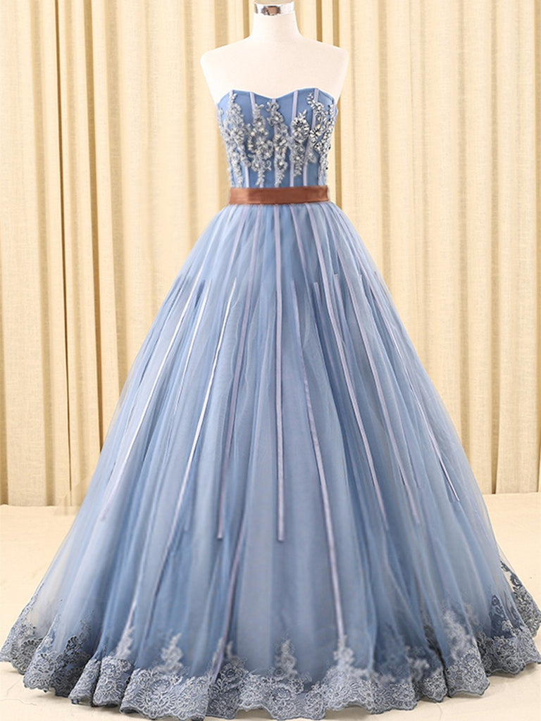 BohoProm prom dresses A-line Sweetheart Floor-Length Tulle Ink Blue Prom Dresses With Rhine Stones ASD26932