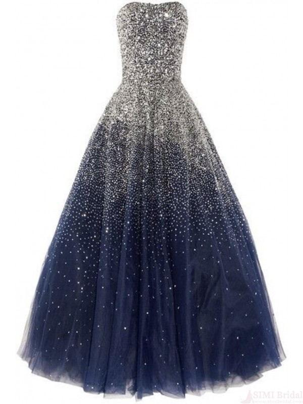 BohoProm prom dresses A-line Sweetheart Floor-Length Tulle Navy Prom Dresses With Sequins HX00134