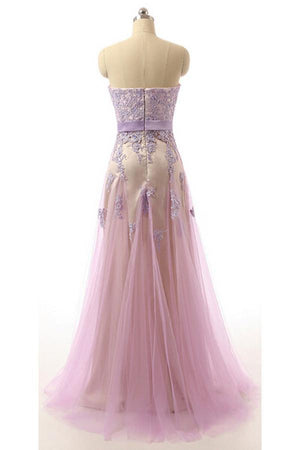 BohoProm prom dresses A-line Sweetheart Floor-Length Tulle Prom Dresses With Appliques HX00129