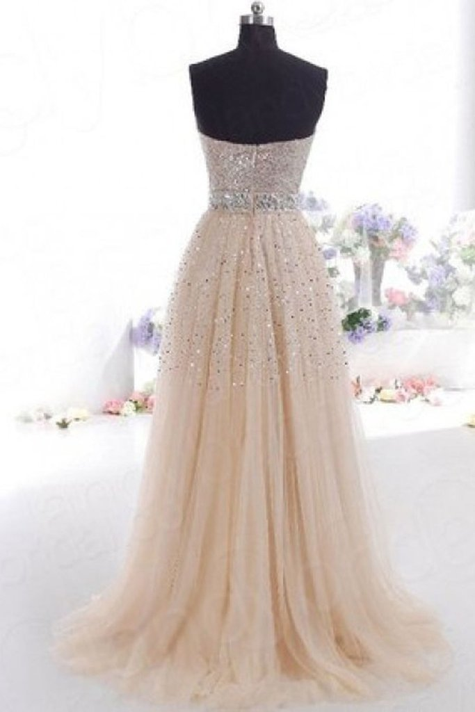 BohoProm prom dresses A-line Sweetheart Floor-Length Tulle Sequined Prom Dresses HX00130