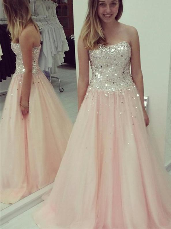 BohoProm prom dresses A-line Sweetheart Floor-Length Tulle Sequined Prom Dresses HX00142