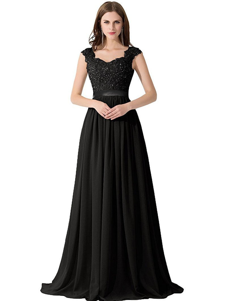 BohoProm prom dresses A-line Sweetheart Sweep Train Chiffon Appliqued Beaded Black Prom Dresses 3022
