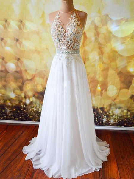 BohoProm prom dresses A-line Sweetheart Sweep Train Chiffon Beaded Appliqued Prom Dresses 2880