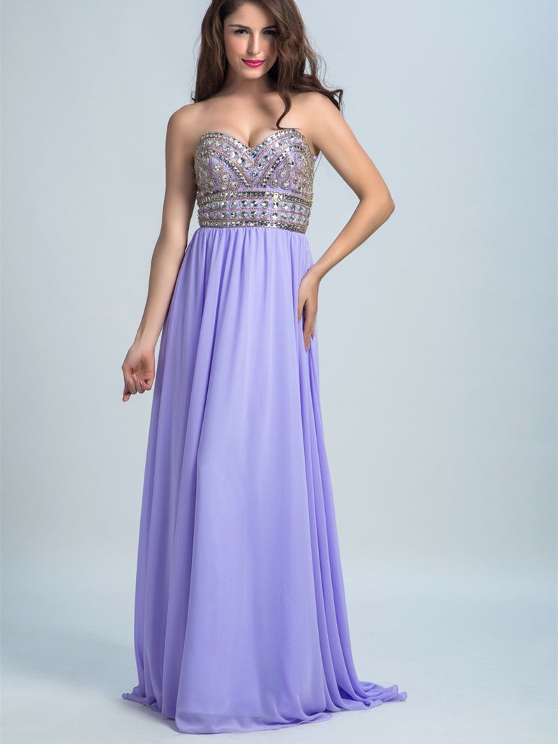 BohoProm prom dresses A-line Sweetheart Sweep Train Chiffon Rhine Stone Beaded Prom Dresses 2903