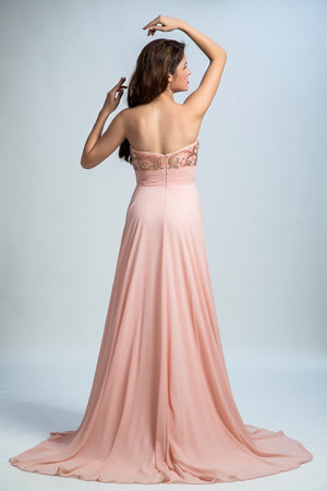 BohoProm prom dresses A-line Sweetheart Sweep Train Chiffon Rhine Stone Beaded Prom Dresses 2906