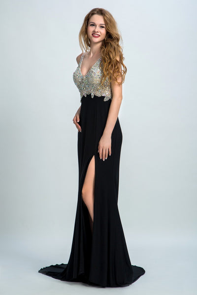 BohoProm prom dresses A-line Sweetheart  Sweep Train Chiffon  Rhine Stone Split Prom Dresses 2893