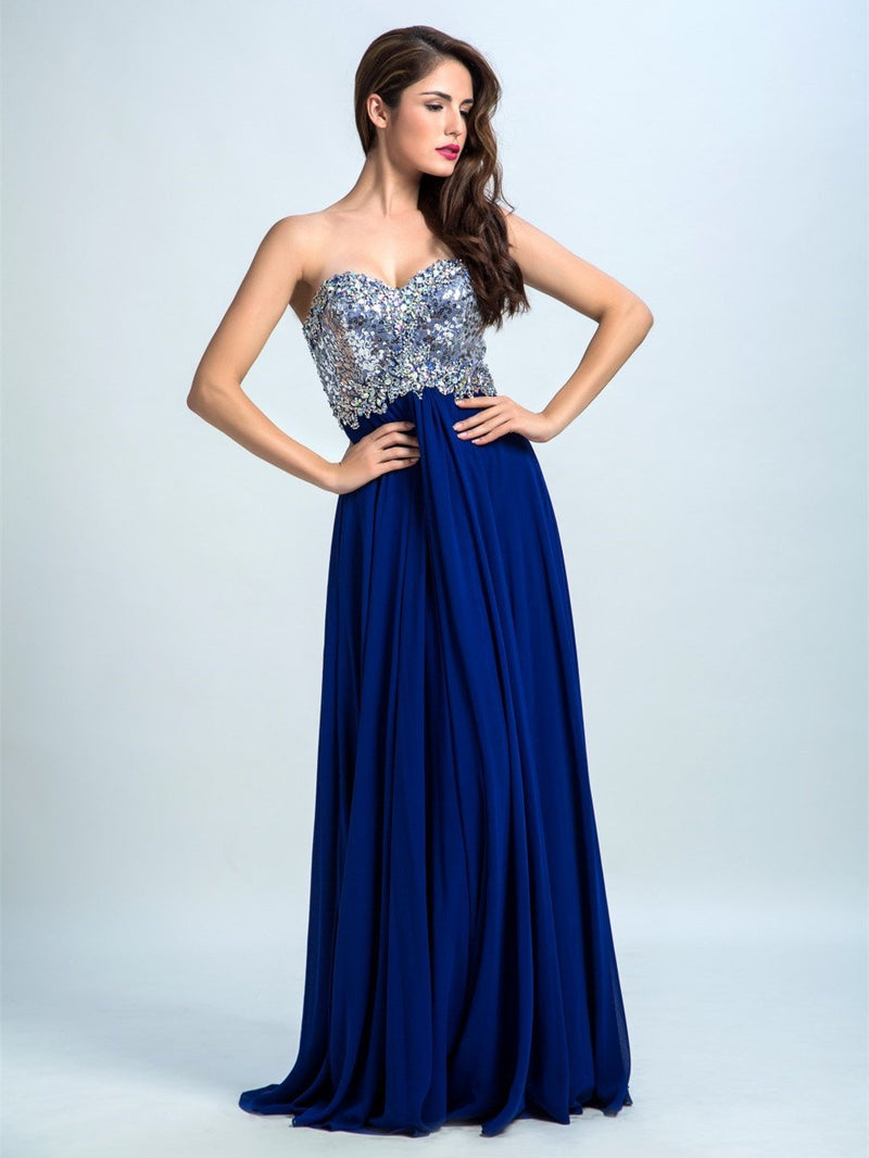 BohoProm prom dresses A-line Sweetheart Sweep Train Chiffon Sequined  Royal Blue Prom Dresses 2904