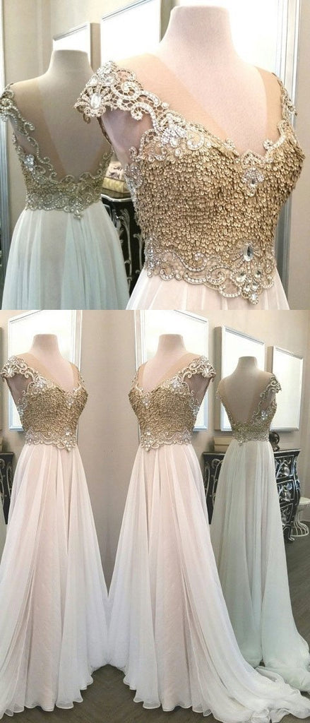 BohoProm prom dresses A-line Sweetheart Sweep Train  Organza  Beaded  Sequined Prom Dresses 2883