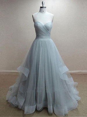 BohoProm prom dresses A-line Sweetheart Sweep Train Organza Simple Prom Dresses SWD030