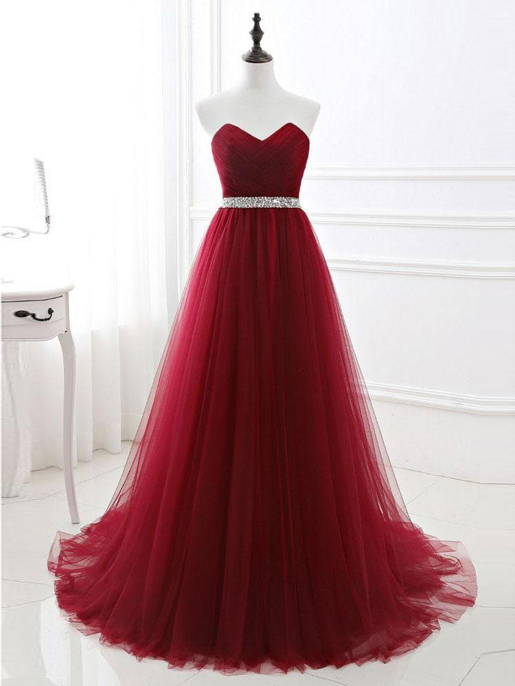 BohoProm prom dresses A-line Sweetheart Sweep Train Tulle Rhinestone Prom Dresses 3017