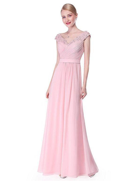 BohoProm prom dresses A-Line V-neck Floor-Length Chiffon Beaded Appliqued Prom Dress 3099