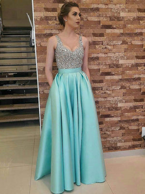 BohoProm prom dresses A-line V-neck Floor-Length Satin Sequined Sexy Prom Dress 3064