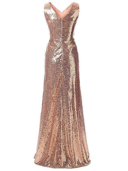 BohoProm prom dresses A-line V-neck  Floor-length Shinny  Sequined Prom Peagant Dresses 2882
