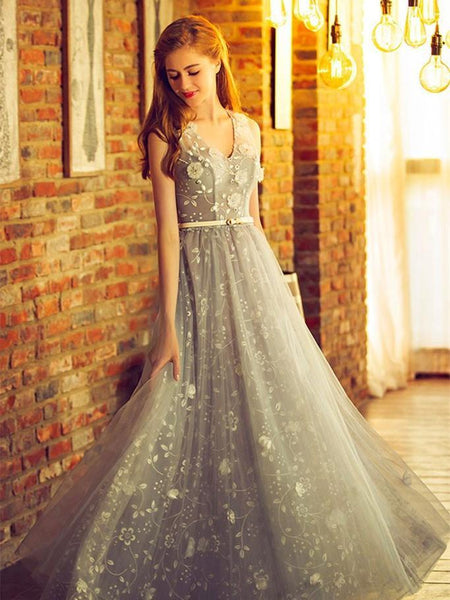 BohoProm prom dresses A-line V-neck Floor-Length Tulle Appliqued Beaded Prom Dresses ASD26822