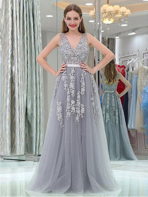 BohoProm prom dresses A-Line V-neck Floor-Length Tulle Appliqued Prom Dress 3093