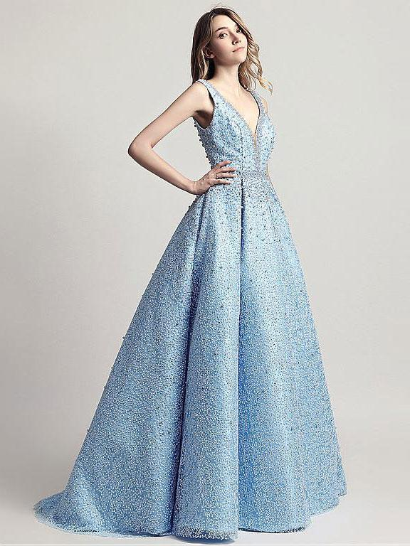 BohoProm prom dresses A-Line V-neck Floor-Length Tulle Full Beaded Prom Dress 3094