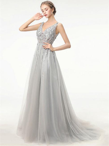 BohoProm prom dresses A-line V-neck Floor Length Tulle Gray Prom Evening Dresses HX0024