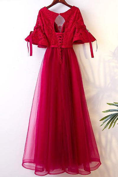 BohoProm prom dresses A-line V-neck Floor-Length Tulle Lace Beaded Red Prom Dresses ASD26825