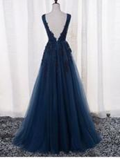 BohoProm prom dresses A-line V-Neck Floor-Length Tulle Royal Blue Appliqued Prom Dresses HX00112