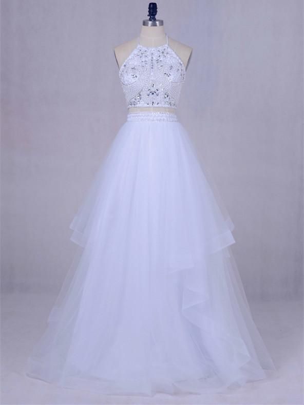 BohoProm prom dresses A-line V-neck Floor-Length Tulle White Prom Dresses With Beading ASD27104