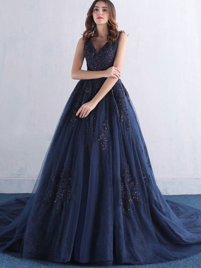 BohoProm prom dresses A-line V-neck Lace Appliqued Navy Blue Prom Dresses with Chapel Train,3352